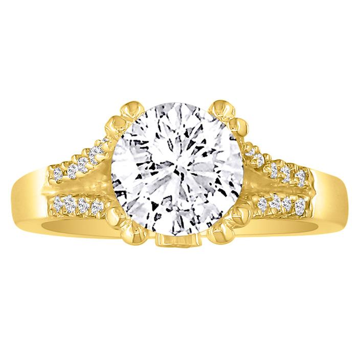 Hansa 2/3 Carat Diamond Round Engagement Ring in 14k Yellow Gold,