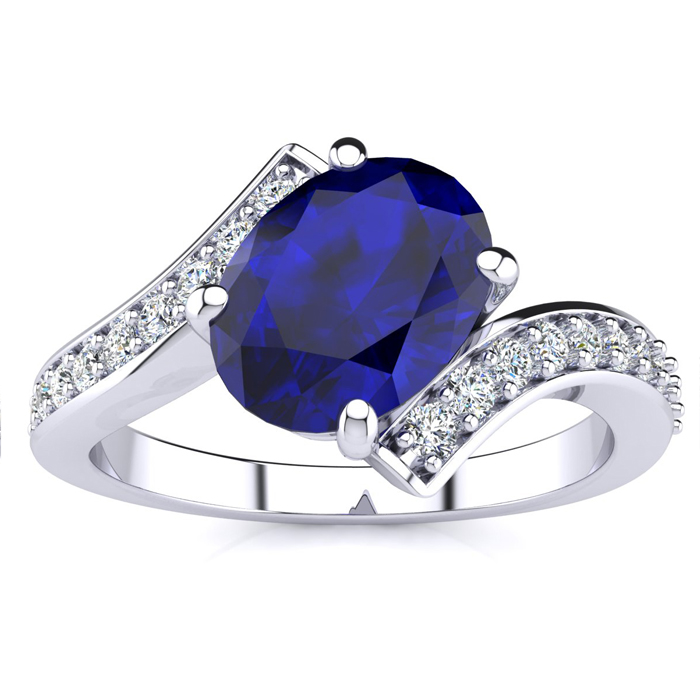 1 1/5 Carat Oval Emerald Cut & Diamond Ring in 14K White Gold, G/