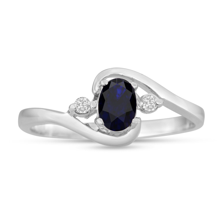 1/2 Carat Sapphire & Diamond Ring in 14K White Gold, G/H by Super