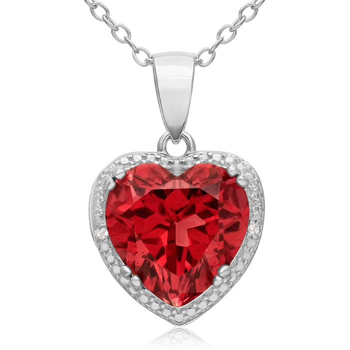 5 1/2 Carat Created Ruby & Diamond Heart Necklace Crafted in Ster