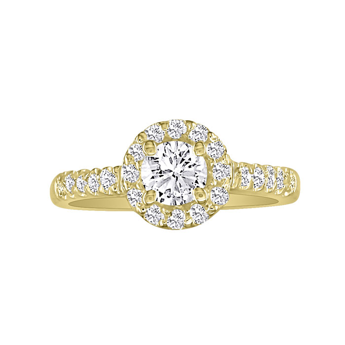 1 Carat Round Halo Diamond Engagement Ring in 18k Yellow Gold (H-