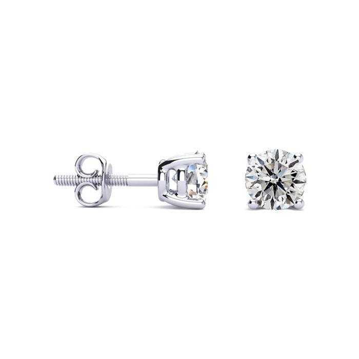 1 Carat Diamond Stud Earrings in 14k White Gold, H/I by SuperJeweler
