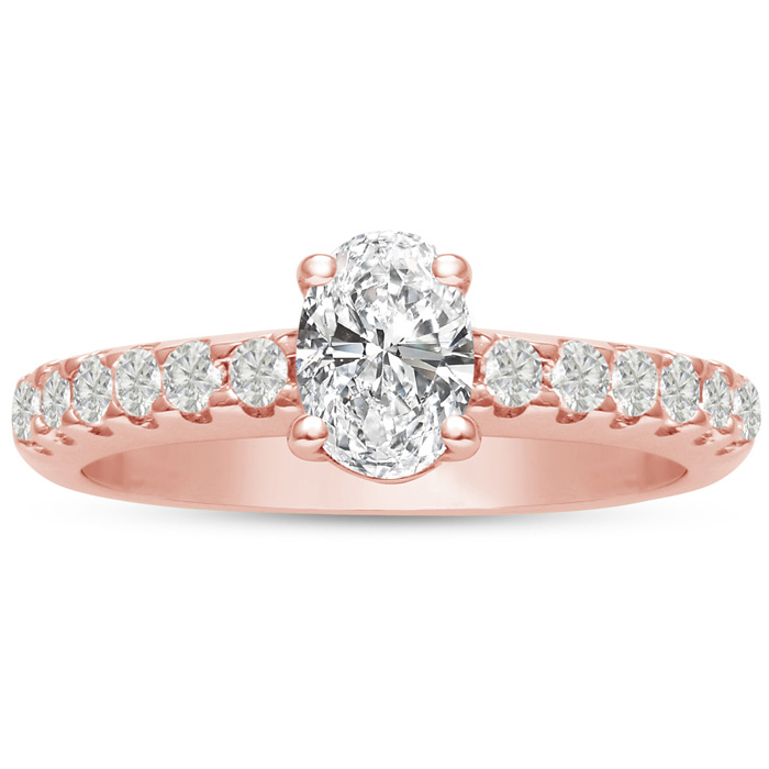 1 1/3 Carat Oval Shape Diamond Engagement Ring Crafted in 14K Ros