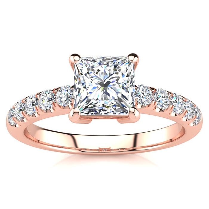 1 2/5 Carat Princess Cut Diamond Engagement Ring Crafted in 14K R