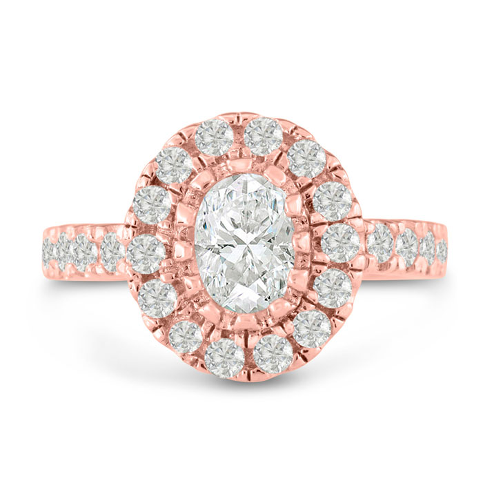 1.5 Carat Oval Shape Diamond Engagement Ring in 14K Rose Gold (6.