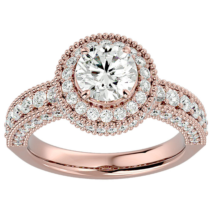 2 Carat Halo Diamond Engagement Ring in 14 Karat Rose Gold
