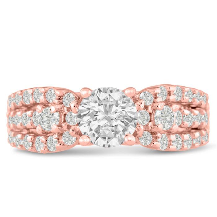 1 1/5 Carat Round Brilliant Diamond Engagement Ring in 14K Rose Gold (6.4 g) (