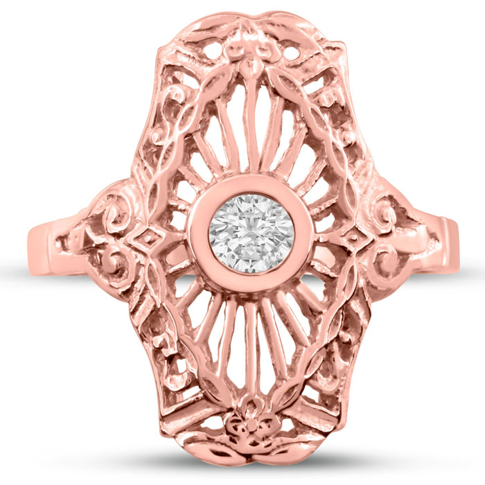 1/10 Carat Cathedral Diamond Ring in 14K Rose Gold (H-I, SI2-I1)