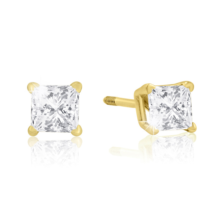 1/2 Carat Princess Cut Diamond Yellow Gold Stud Earrings G/H Colo