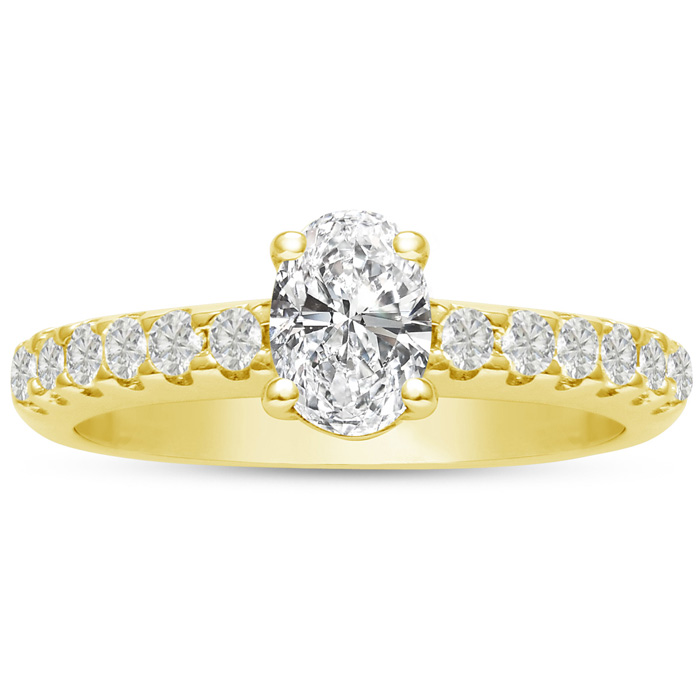 1 1/3 Carat Oval Shape Diamond Engagement Ring Crafted in 14K Yel