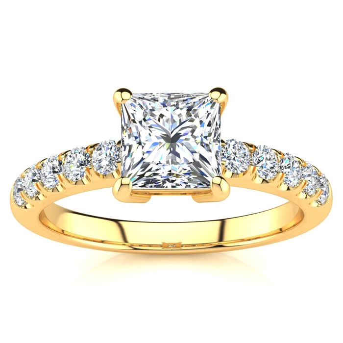 1 2/5 Carat Princess Cut Diamond Engagement Ring Crafted in 14K Y