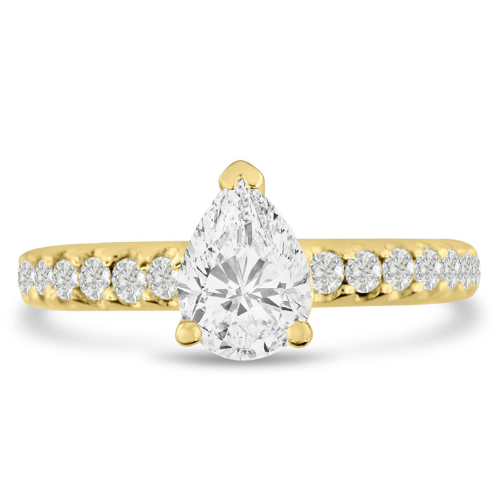 1 1/3 Carat Pear Shape Diamond Engagement Ring in 14K Yellow Gold