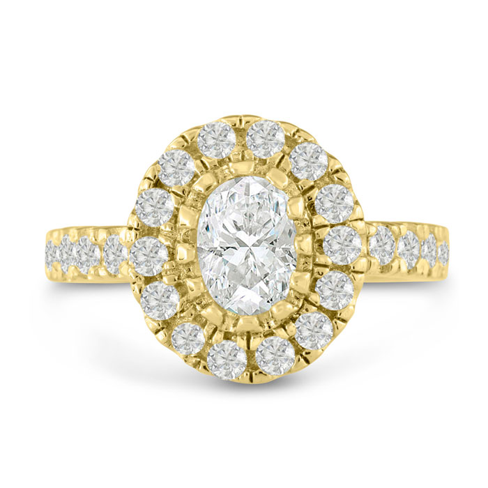 1.5 Carat Oval Shape Diamond Engagement Ring in 14K Yellow Gold (6.9 g) (H-I, SI2-I1) by SuperJeweler