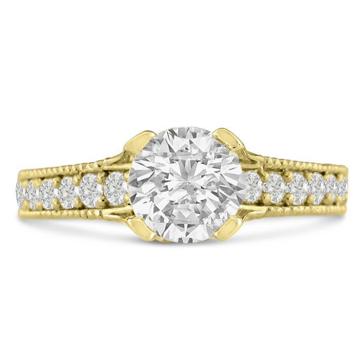 1 2/3 Carat Round Diamond Engagement Ring in 14K Yellow Gold (6.2 g) (