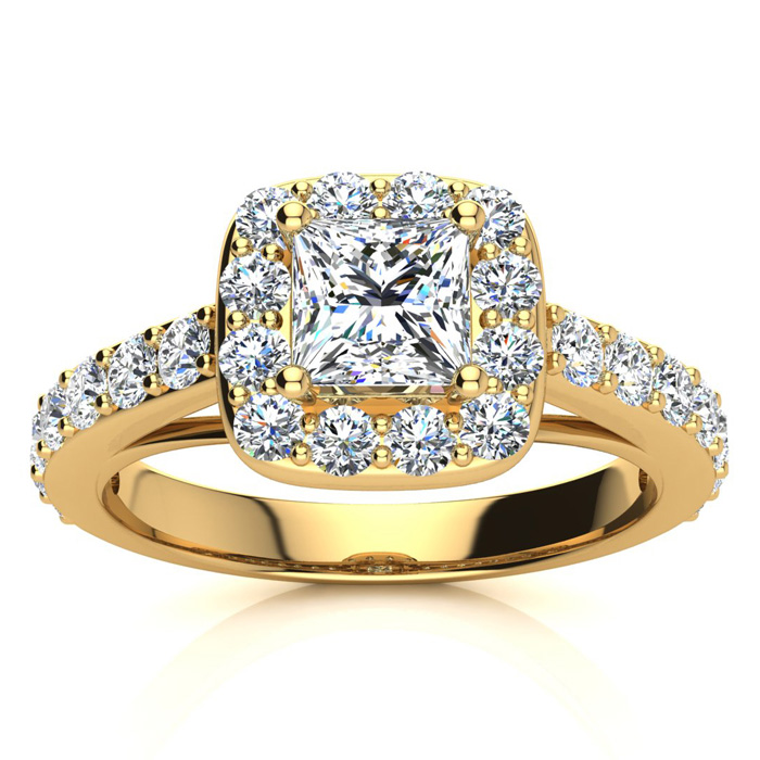 2 Carat Halo Diamond Engagement Ring in 14K Yellow Gold (5.9 g) (H-I, SI2-I1) by SuperJeweler