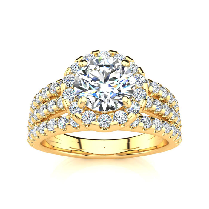 1 2/3 Carat Round Halo Diamond Engagement Ring in 14K Yellow Gold