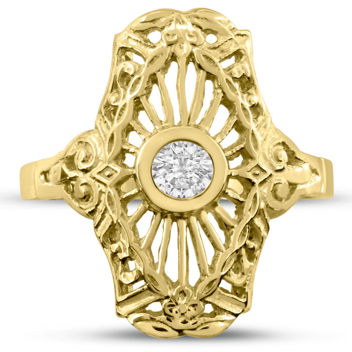 1/10 Carat Cathedral Diamond Ring in 14K Yellow Gold (H-I, SI2-I1