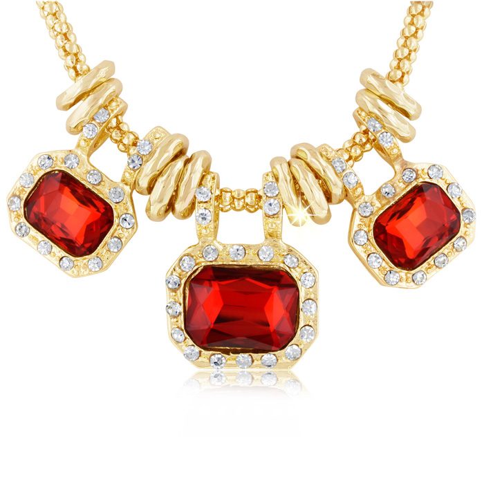 Image of 18 Karat Gold Plated Ruby Red Glass And Crystal Statement Necklace, 18 Inches