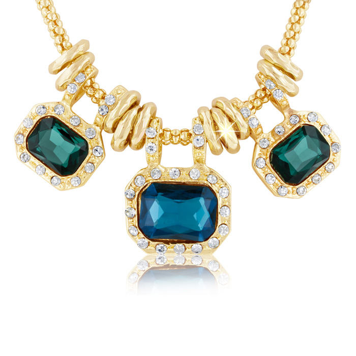 Image of 18 Karat Gold Plated Emerald and Blue Sapphire Glass And Crystal Statement Necklace, 18 Inches