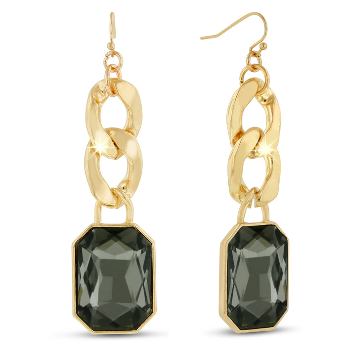 18K Gold Plated Smoky Glass & Chain Dangle Earrings, 2.5 Inches b