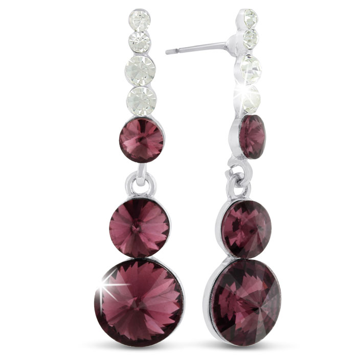 Image of Garnet Glass and Crystal Dangle Earrings