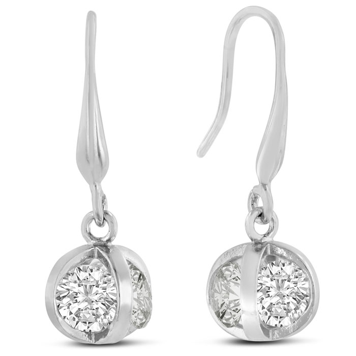 Image of Swarovski Crystal Basket Dangle Earrings, 1 Inch