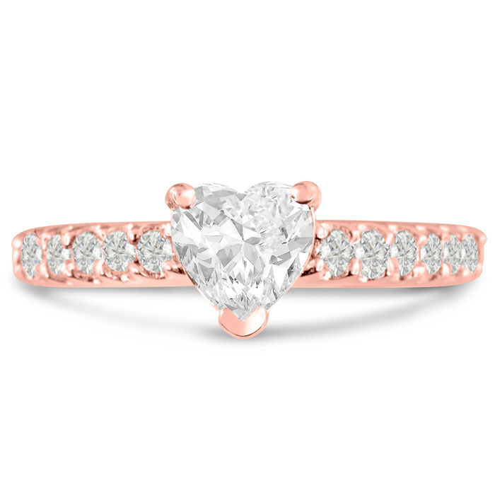 1 1/3 Carat Heart Shape Diamond Engagement Ring Crafted in 14K Rose Gold (5.1 g) (H-I, SI2-I1) by SuperJeweler