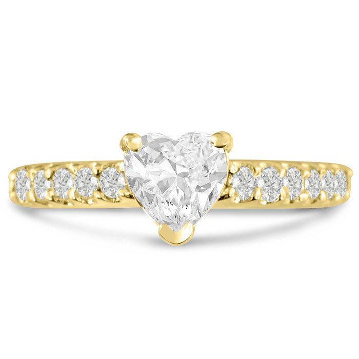 1 1/3 Carat Heart Shape Diamond Engagement Ring Crafted in 14K Ye