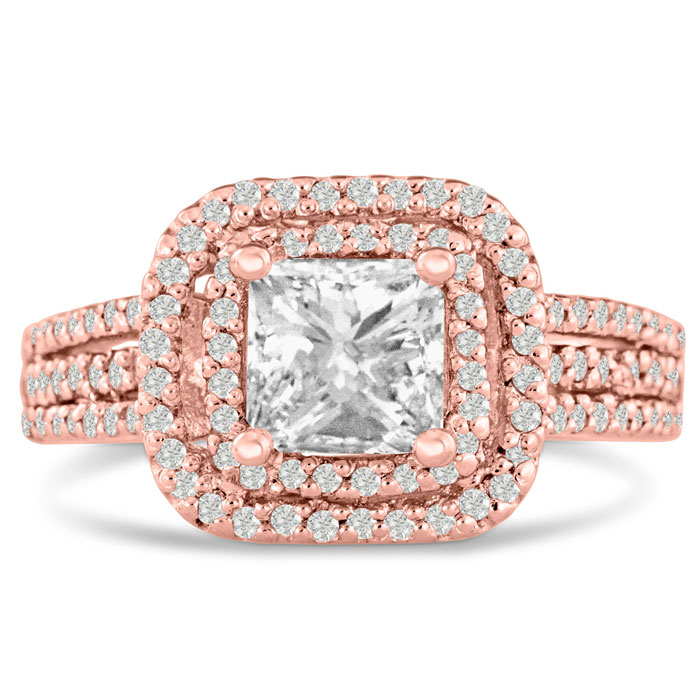 1 2/3 Carat Princess Cut Double Halo Diamond Engagement Ring in 14 Karat Rose Gold