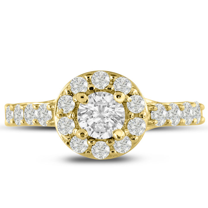 1 3/5 Carat Halo Diamond Engagement Ring Crafted in 14K Yellow Go
