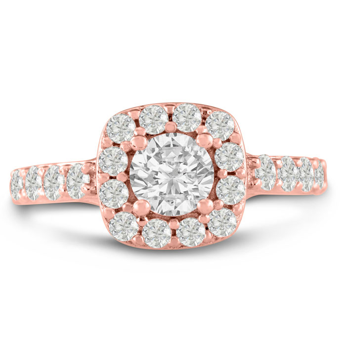 1 3/4 Carat Halo Diamond Engagement Ring Crafted in 14K Rose Gold (5.8 g)