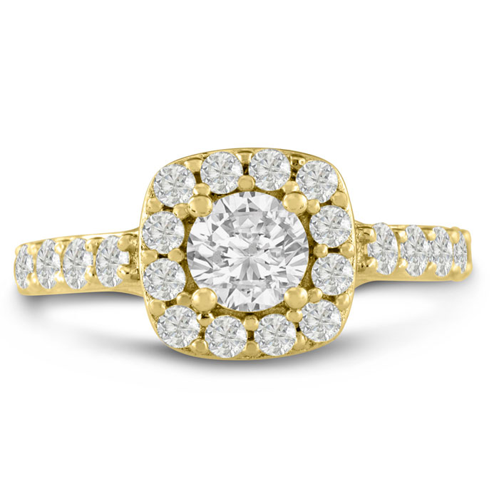 1 3/4 Carat Halo Diamond Engagement Ring in 14K Yellow Gold (5.8 g) (