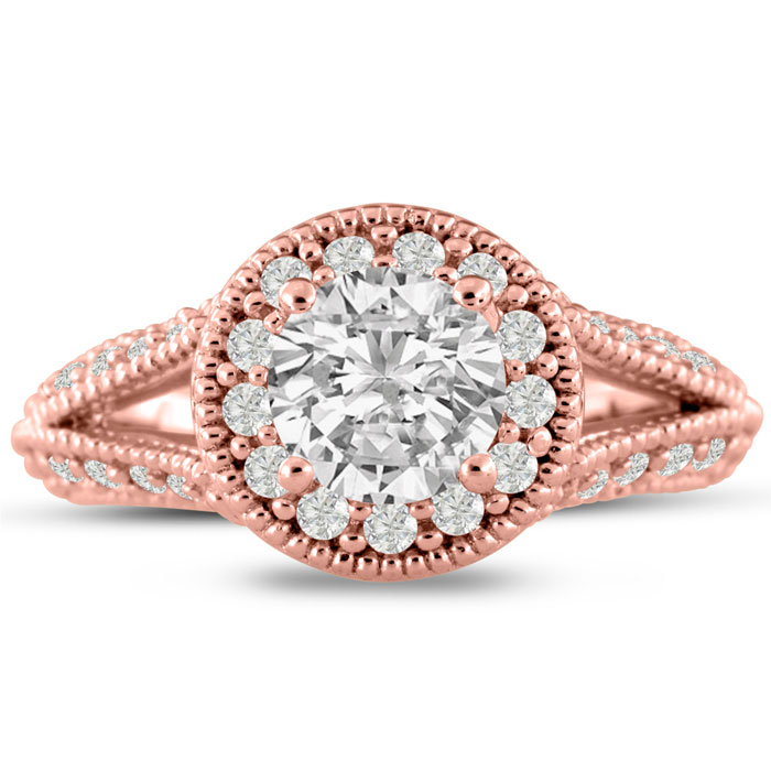 1 3/4 Carat Split Shank Halo Diamond Engagement Ring in 14K Rose
