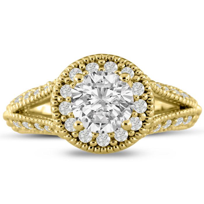 1 3/4 Carat Split Shank Halo Diamond Engagement Ring in 14K Yellow Gold (6.1 g) (