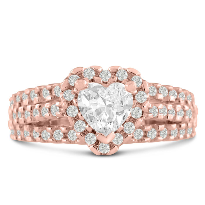 1 2/3 Carat Heart Halo Diamond Engagement Ring in 14K Rose Gold (7.8 g) (