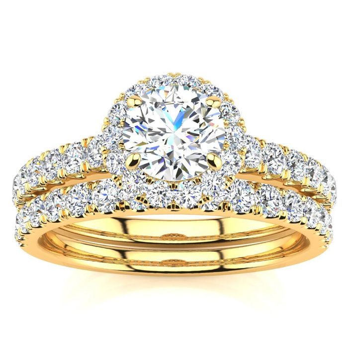 1/2 Carat Pave Halo Diamond Bridal Engagement Ring Set in 14k Yellow Gold (H-I, SI2-I1) by SuperJeweler