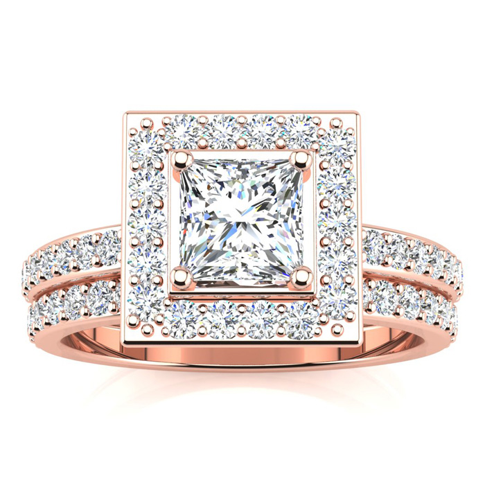 1.5 Carat Princess Cut Floating Pave Halo Diamond Bridal Engagement Ring Set in 14k Rose Gold (H-I, SI2-I1) by SuperJeweler