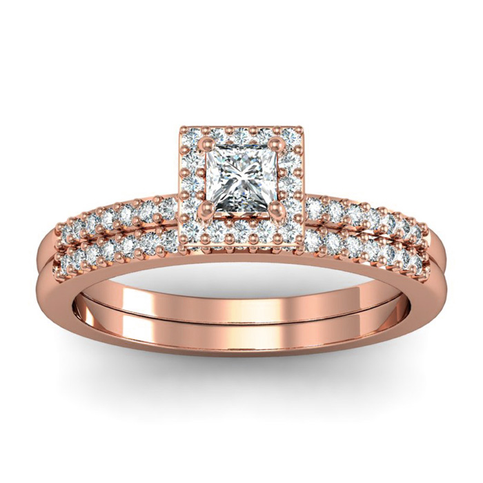 1/2 Carat Princess Cut Pave Halo Diamond Bridal Ring Set in 14k Rose Gold (H-I, SI2-I1) by SuperJeweler