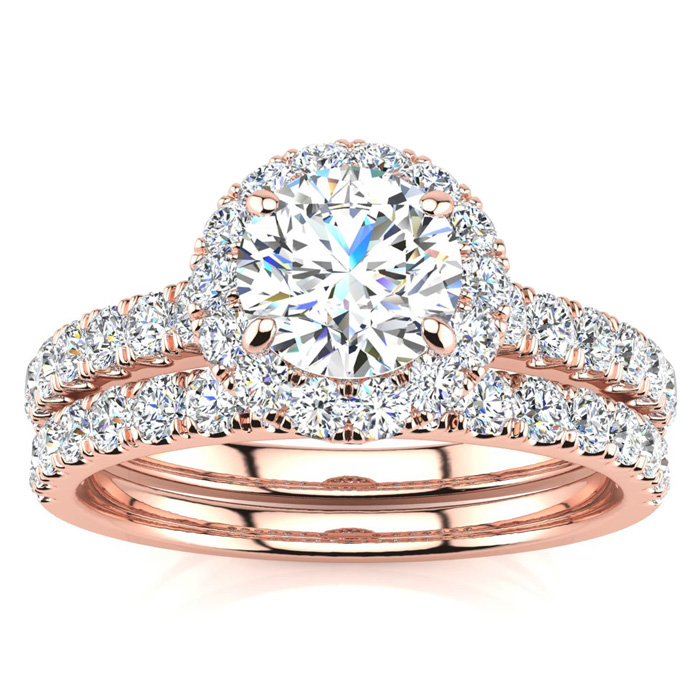 1.5 Carat Pave Halo Diamond Bridal Engagement Ring Set in 14k Rose Gold (H-I, SI2-I1) by SuperJeweler