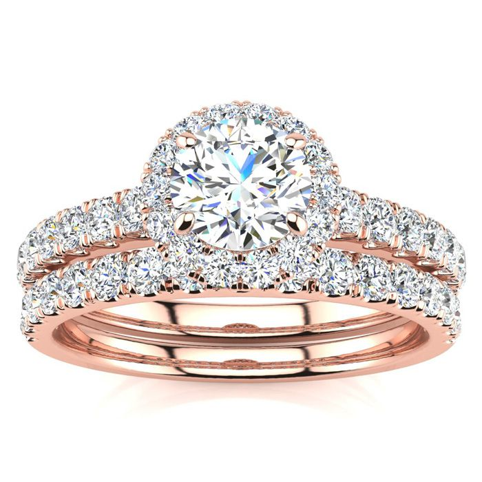 1 Carat Floating Pave Halo Diamond Bridal Engagement Ring Set in