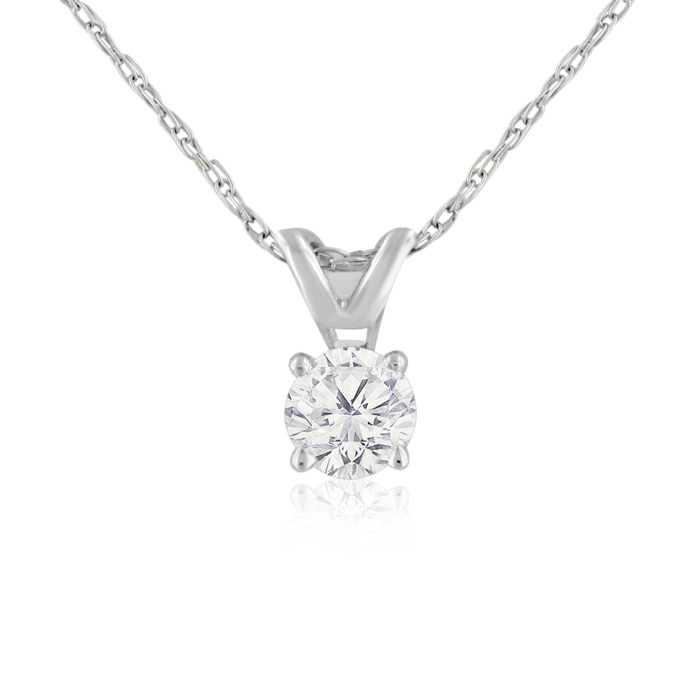 1/4 Carat 14k White Gold Diamond Pendant Necklace, H/I, 18 Inch C