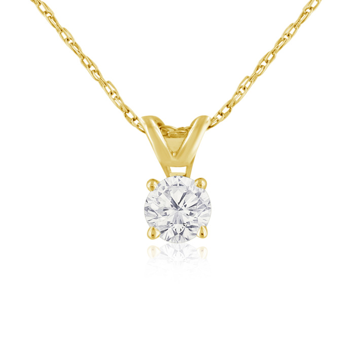 1/4 Carat 14k Yellow Gold Diamond Pendant Necklace, H/I, 18 Inch Chain by SuperJeweler