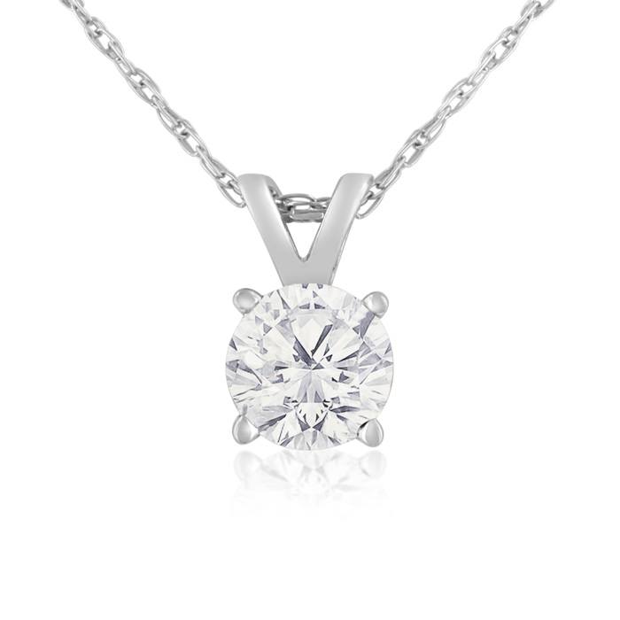 1/2 Carat 14k White Gold Diamond Pendant Necklace, H/I, 18 Inch Chain by SuperJeweler