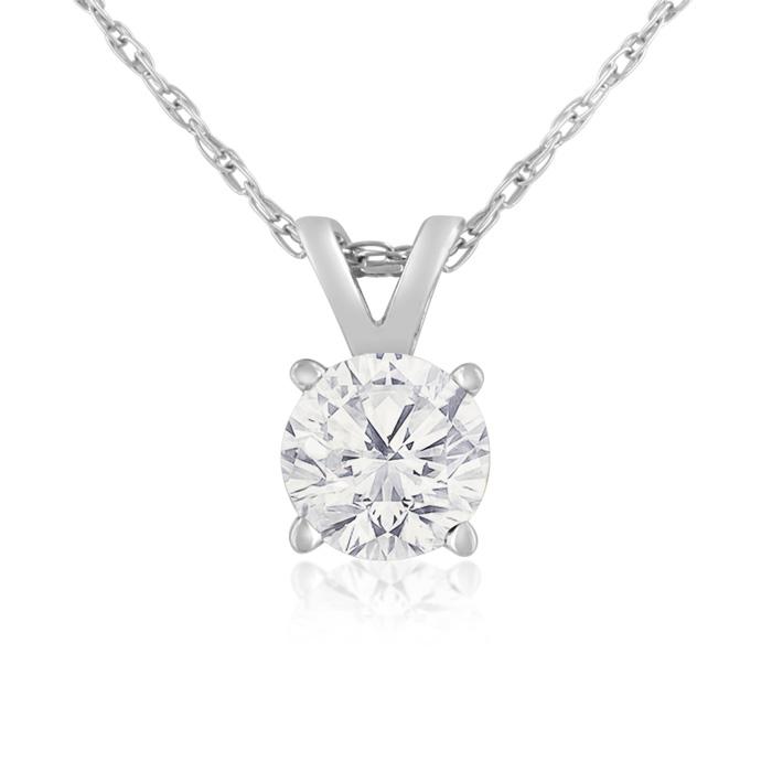 1/2 Carat 14k White Gold Diamond Pendant Necklace, H/I, 18 Inch C