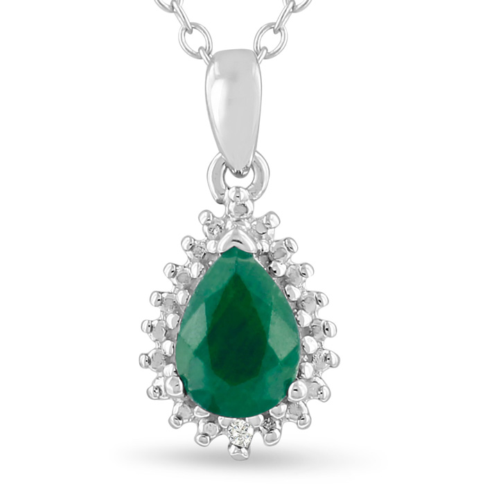 1 Carat Pear Shape Emerald Cut & Diamond Halo Necklace in Sterling Silver, 18 Inches, J/K by SuperJeweler