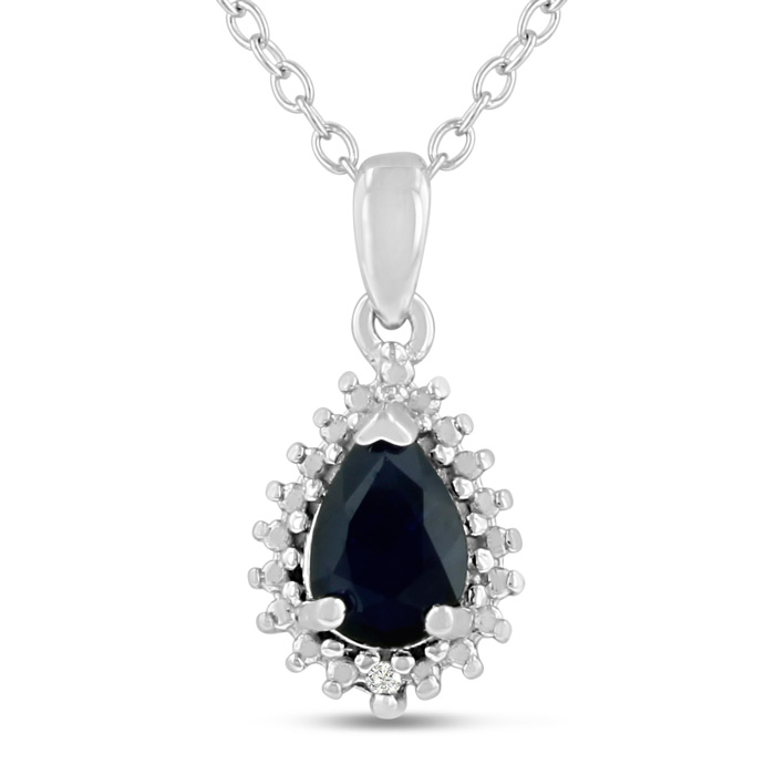 1 Carat Pear Shape Sapphire & Diamond Halo Necklace in Sterling Silver, 18 Inches, J/K by SuperJeweler