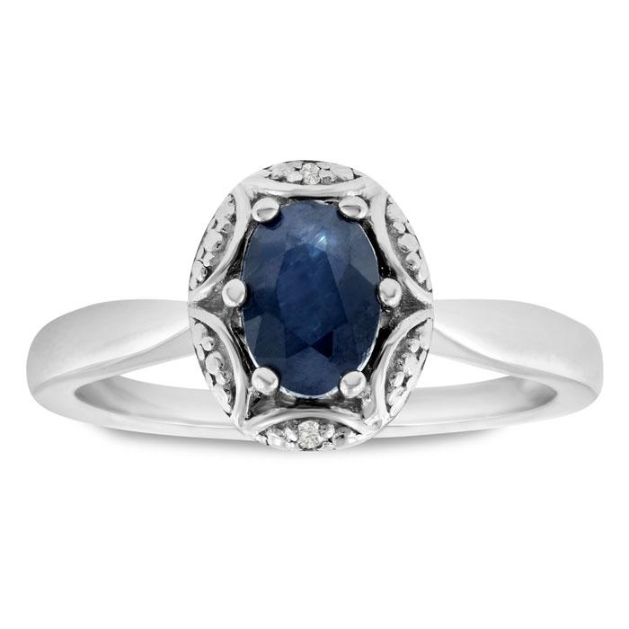 1 Carat Oval Shape Sapphire & Diamond Ring in Sterling Silver, J/