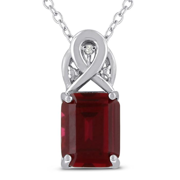 34d4a2c989610 Ruby Necklace | July Birthstone | 3 Carat Emerald Cut Ruby & Diamond ...