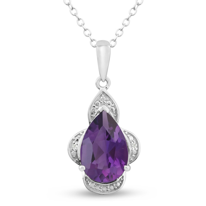 Platinum Plated 2 3/4 Carat Pear Shape Amethyst & Diamond Necklac