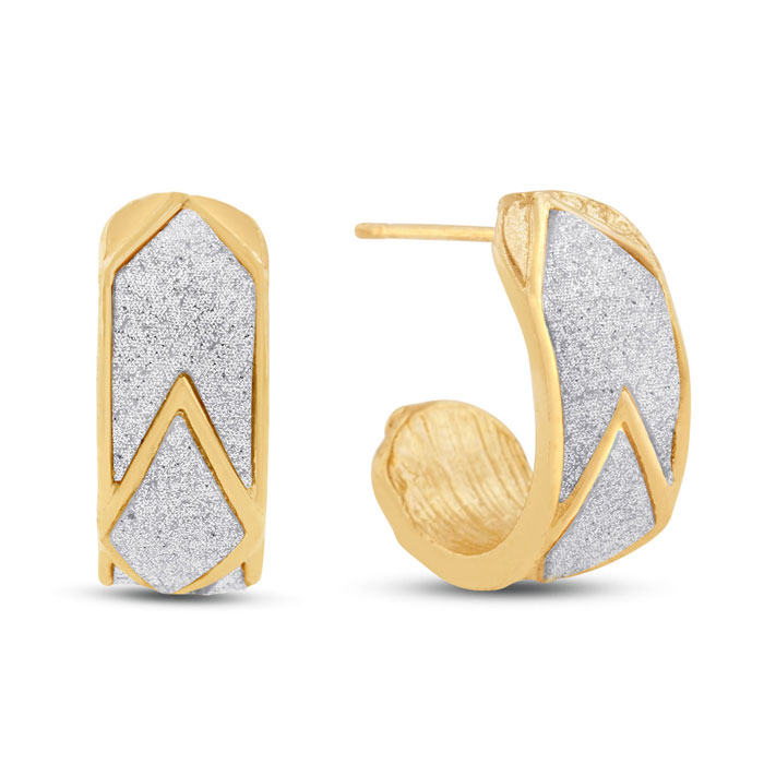 Swarovski Dust Chevron Huggie Hoop Earrings by SuperJeweler